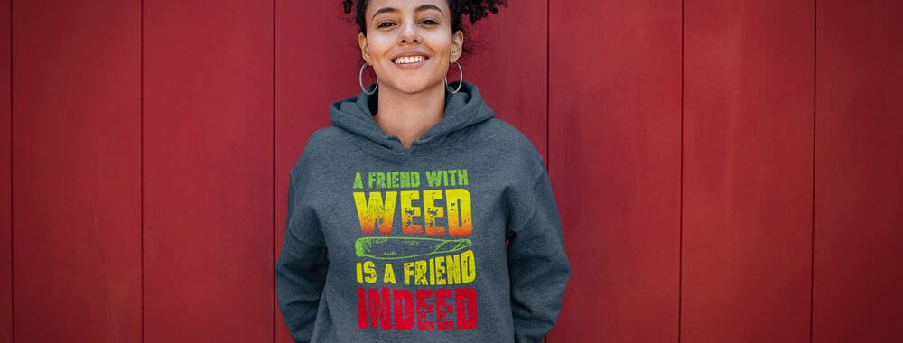A Friend With Weed Gray Hoodie