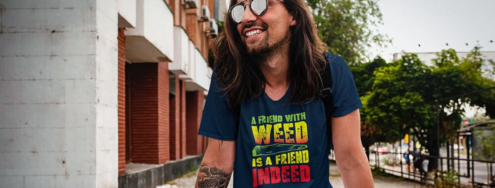 A Friend With Weed Gray TShirt